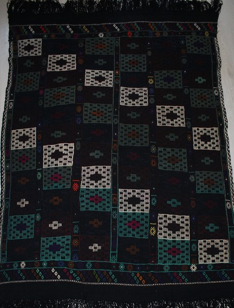 Turkish, Handmade Very Rare Black Kilim Rug