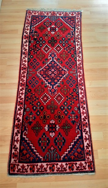 Persian, Semi Antique Vintage Handmade Red Runner Rug