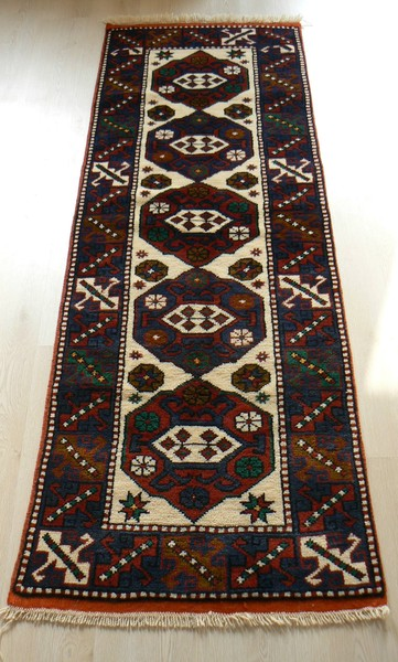 Turkish, Ayvacik, Natural Dyed Handmade Runner Rug