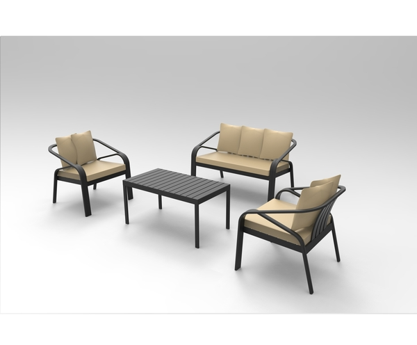 SMB-ALCR- Seating Set Aluminum (1 pcs two seater+2 pcs armchair+1 coffee table)