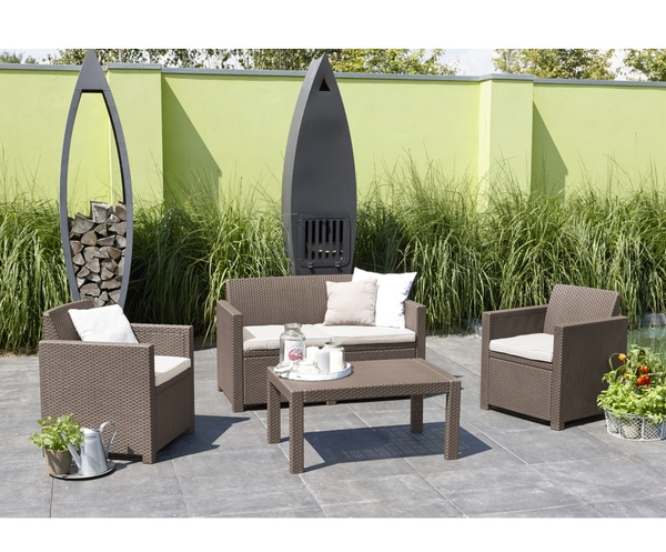 SMB-ORLND-Lounge Set Rattan Looking Injection (1 pcs Sofa+2 pcs 1 seater+1 pcs coffee table)