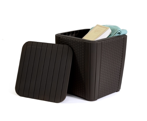 SMB-LZN-Side Table Storage Rattan Looking Injection Plastic