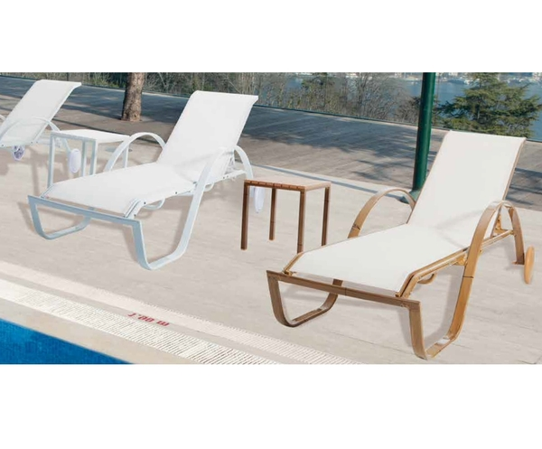SMB-CSTSNLG-Sunlounger Aluminum Frame Mesh Seat and Back