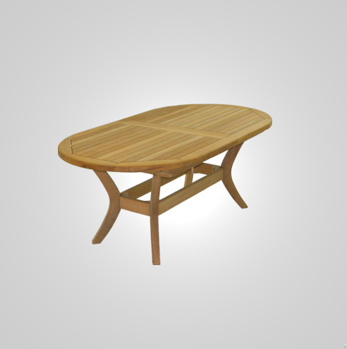RYG-3438-Oval Extending Table Iroko Wood 104x190-250x74h