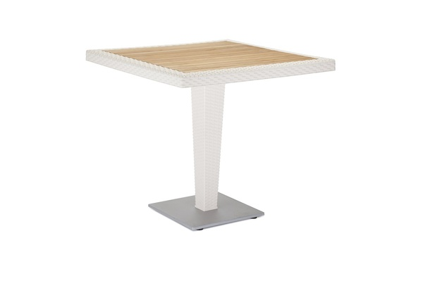 TLL-ANTRS-TB-Table Rattan Looking Injection 70x70 Aluminum Leg Iroko Wood Top