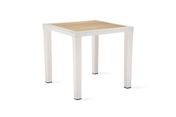 TLL-ANTRS-TB-Table 80x120 Rattan Looking Injection Iroko Top, Plastic Leg