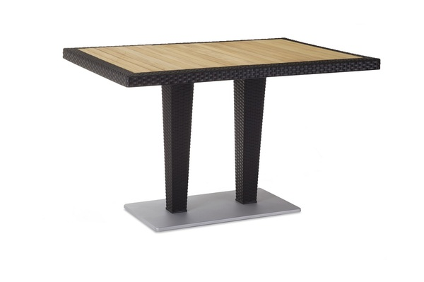 TLL-ANTRS-TB-Table 80x120 Rattan looking Injection,Glass Top Aluminum Pedestal Leg