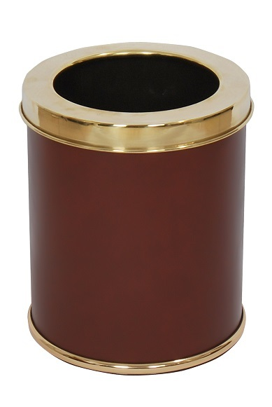 NEO-A-207GOLD-Leather Coated Litter Basket