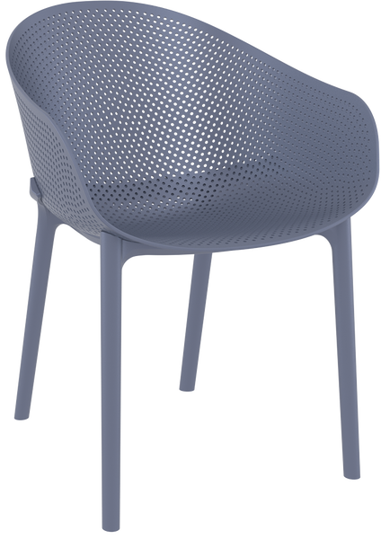 DCS-158-Metal Chair Seat Leather Back Polycarbonate