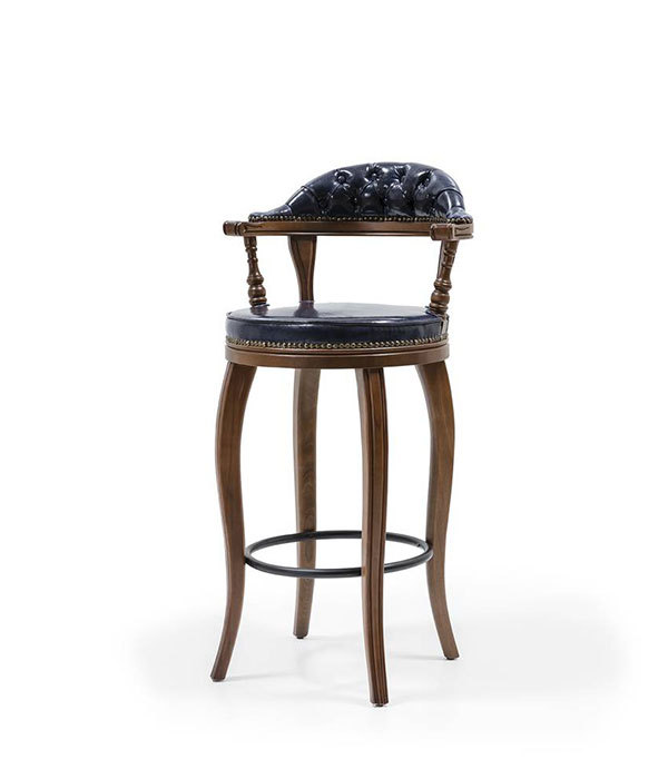 YSK-IRSH-Bar Chair wood frame Upholstered seat