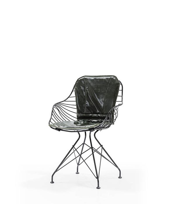 DCS-145-Metal Chair Seat and Back Leather