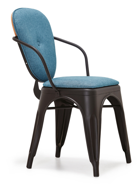 DCS-S164-Metal Chair, seat and back upholstered Wooden back