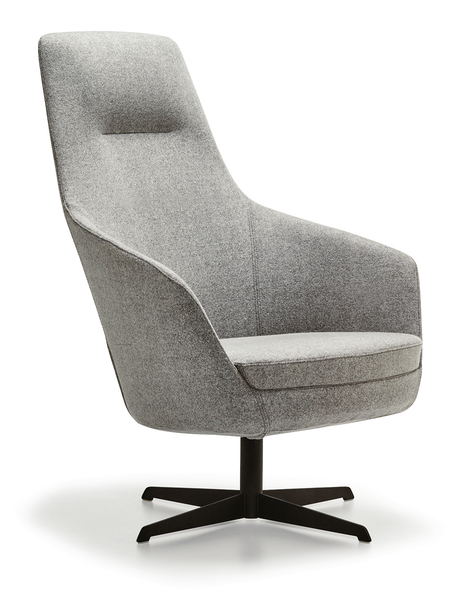 SFF-DP104- Swivel Armchair  Upholstered Metal Leg