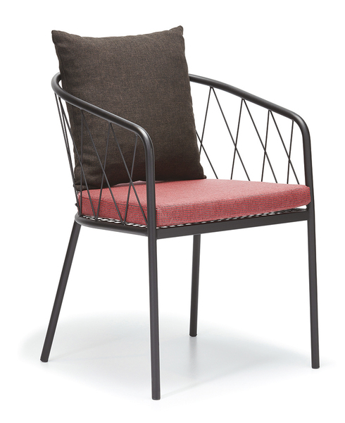 DCS-S-183-Armchair, Metal Frame with seat and back cushions