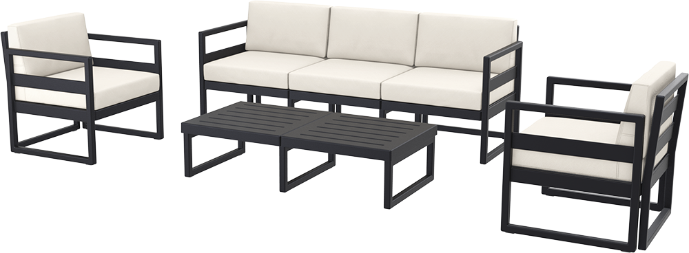 SST-133-Mykonos  Lounge Set XL (1 pcs 3 seater sofa+2 pcs 1 seater+1 long lounge table)