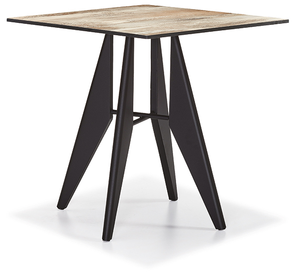 DCS-250-3-Table 12mm Compact Laminate Table Top Metal Leg 70x70cm or 76x76cm