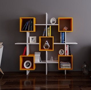 Scaffali Per Libri Design.Royal Bookcase White Orange Library Shelf