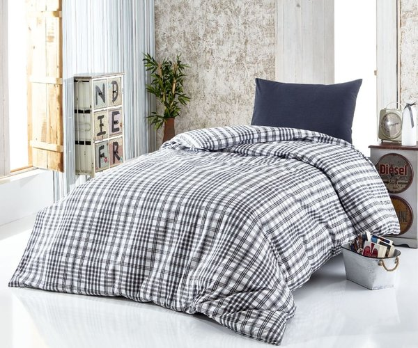 Black Tartan Single Duvet Cover Set