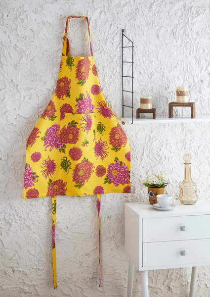 Flowers Designed Kitchen Apron