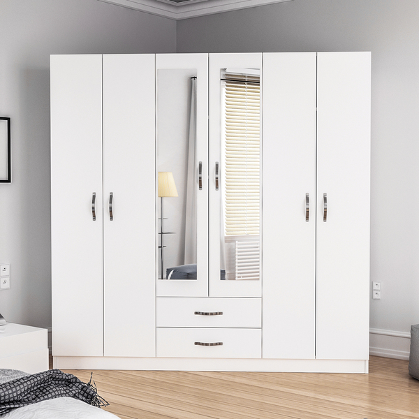 Sei Wardrobe 6 Doors 2 Drawers - White
