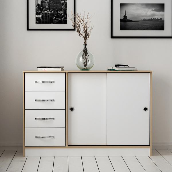 Sunrise Multiuse Cabinet 2 Doors 4 Drawers - Sapphire Oak