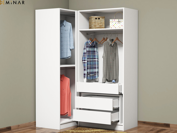 buy popular 9d3da ed6d9 Granikos 4 Doors Corner Wardrobe With 3 Drawers And Shelfs. - White