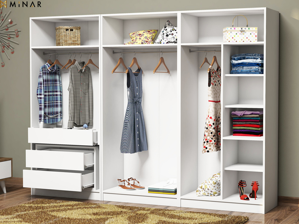 6 Doors Wardrobe With 3 Drawers
