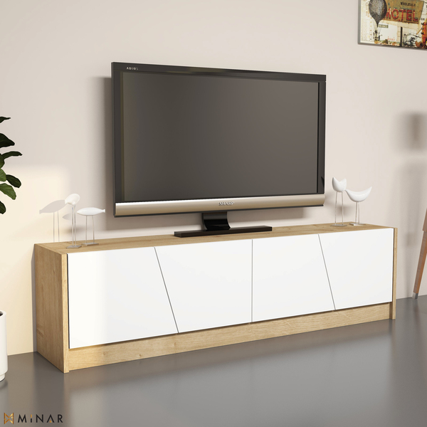 Gold Tv Unit Tv Stand Sapphire Oak Minar Furniture