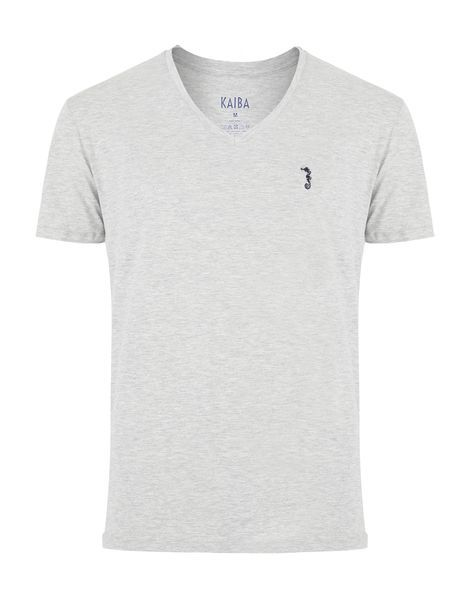 V NECK - HEATHER GREY