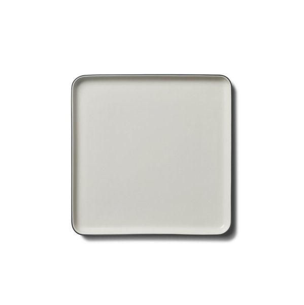 Square Medium Plate, Black&Ivory Colour