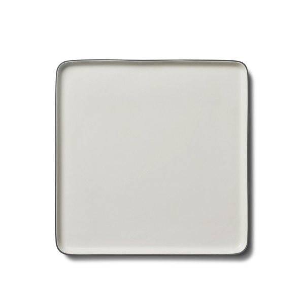Square Large Plate, Black&Ivory Colour