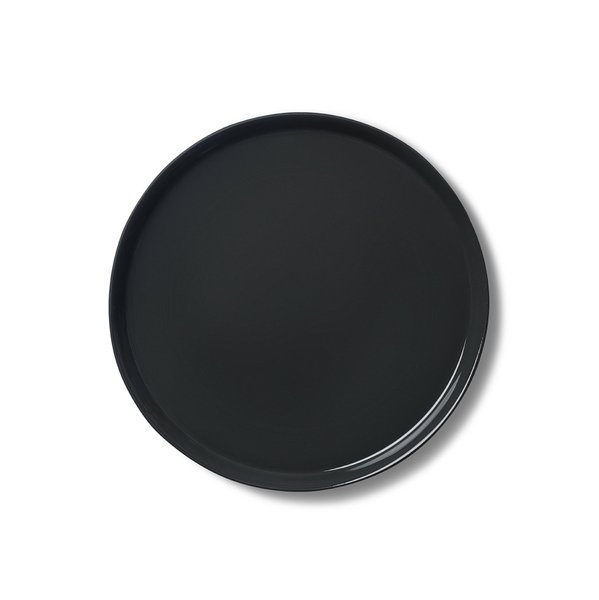 Round Medium Plate, Black&Straw Colour