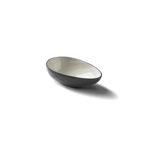 Egg Medium Bowl, Black&Ivory Colour