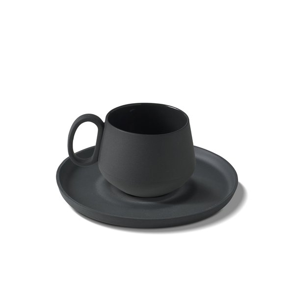 Tube Espresso Cup-Saucer, Black Colour