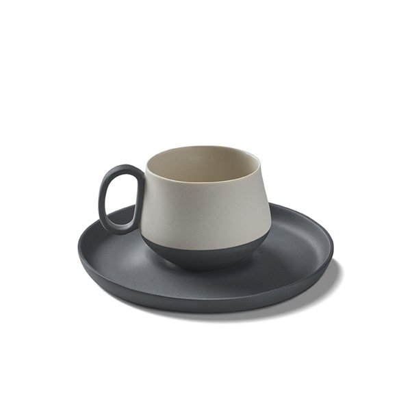 Tube Espresso Cup-Saucer, Black&Ivory Colour