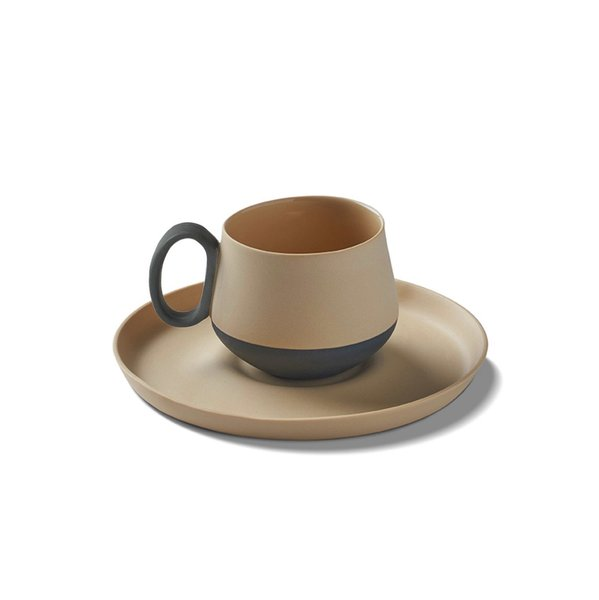 Tube Espresso Cup-Saucer, Black&Straw Colour