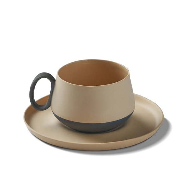 Tube Tea Cup-Saucer, Black&Straw Colour