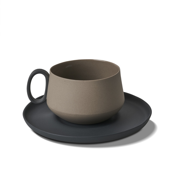 Tube Tea Cup-Saucer, Black&Ivory Colour