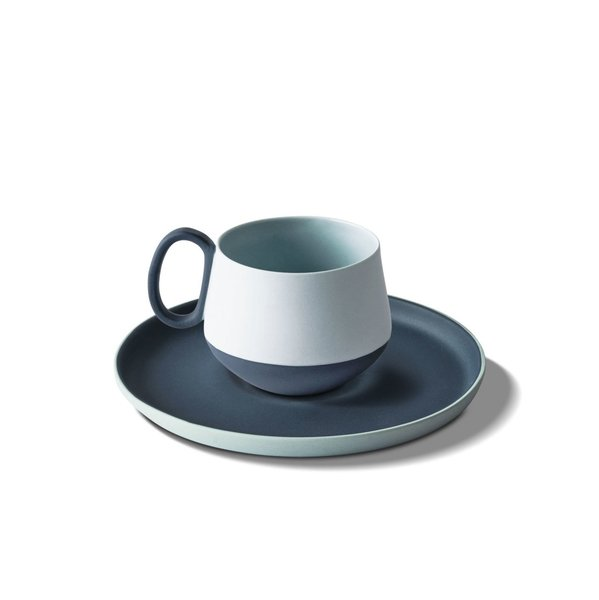 Tube Espresso Cup-Saucer, Ocean&Ice Colour