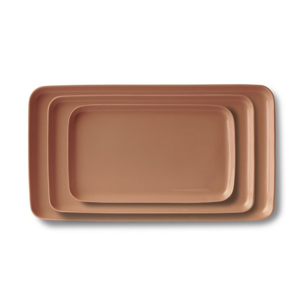 Rectangle Plate Set, Coral Colour