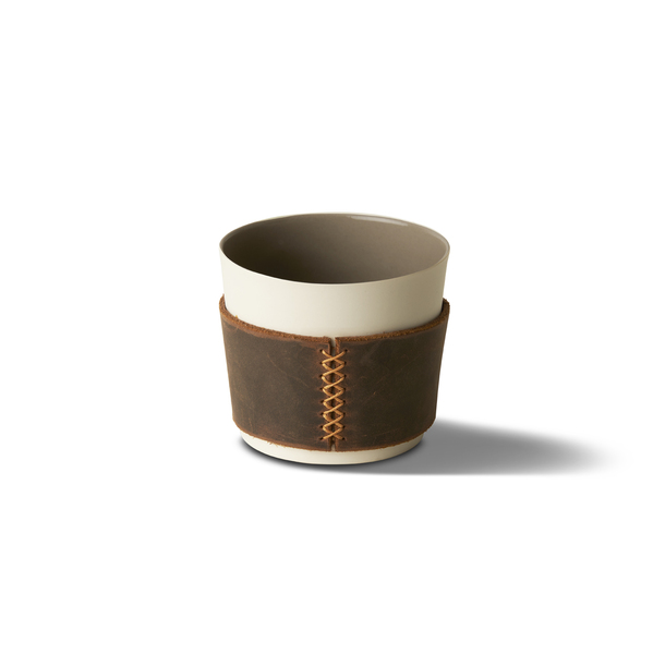 Espresso Cup With Leather, Ivory&Rock Colour