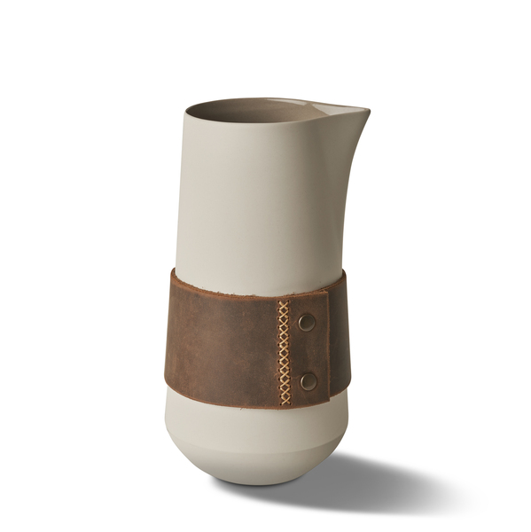 Jug With Leather, Rock&Ivory Colour