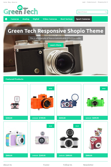 Green Tech Ecommerce theme for Shopio