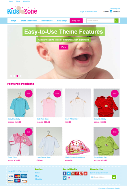 Kids Zone Ecommerce theme for Shopio