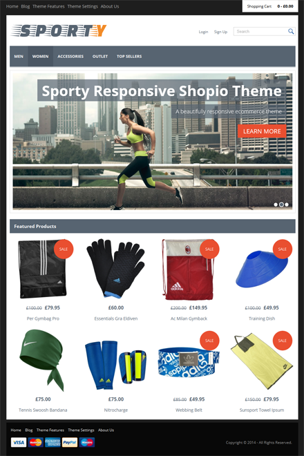 Sporty Ecommerce theme for Shopio
