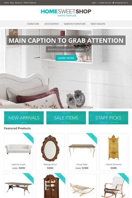 Sweet Home Ecommerce theme for Shopio